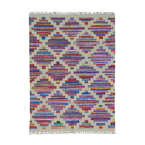 Handmade Multicolored Durie Kilim Oriental Rug Wool and Sari