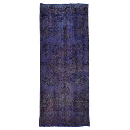 Wide Runner Purple Worn Down Overdyed Persian Tabriz Handmade
