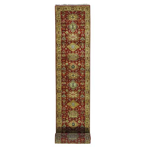 XL Runner Pure Wool Hand Knotted Rust Red Karajeh Oriental Rug