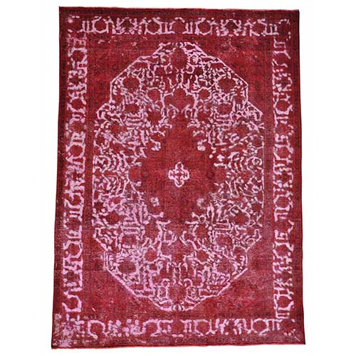 Overdyed Persian Tabriz Barjasta Hand Knotted Pure Wool Vintage