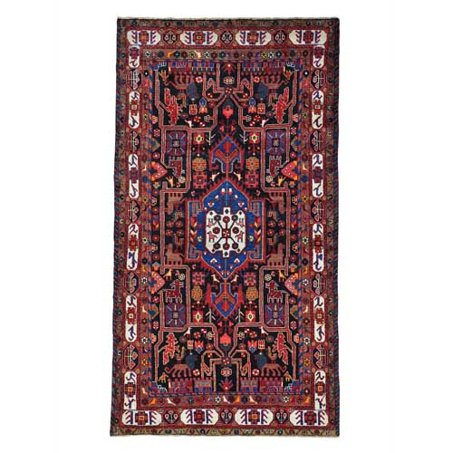 Persian Nahavand Pictorial Pure Wool Hand Knotted Wide Runner