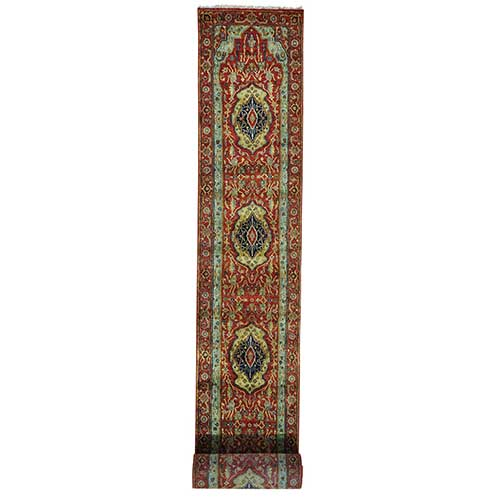 Hand Knotted Antiqued Heriz Re-creation XL Runner Oriental