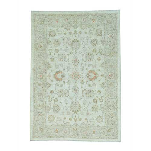 Oushak Ivory Pure Wool White Wash Hand Knotted Oriental