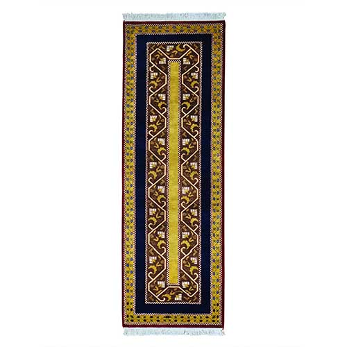 Striped Kashkuli Runner Pure Wool Hand Knotted Oriental