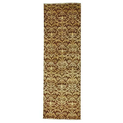 Damask Tone on Tone Runner Wool and Silk Handmade Oriental