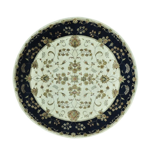 Round Rajasthan Floral Design Wool And Silk Hand Knotted