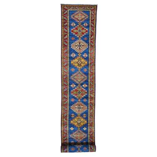 Pure Wool Super Kazak Tribal Design Hand Knotted XL Runner