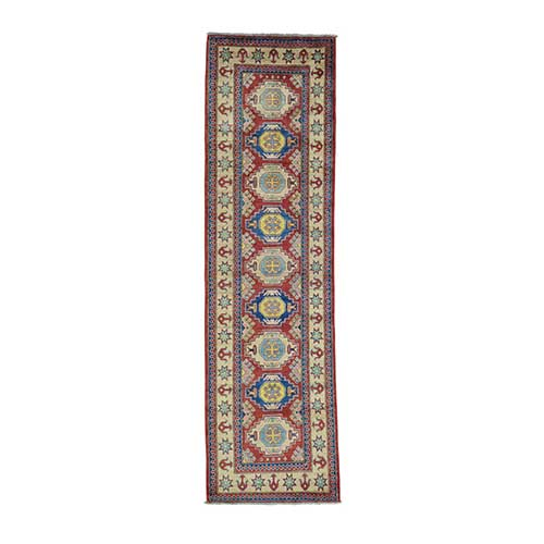 Red Kazak Runner Pure Wool Hand Knotted Oriental