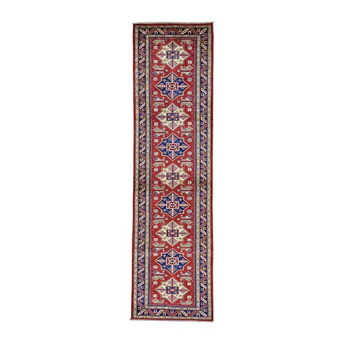 Runner Hand Knotted Super Kazak Red Pure Wool Oriental