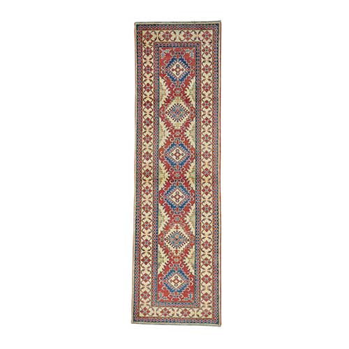 Red Kazak Pure Wool Runner Hand Knotted Oriental