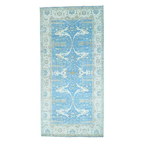 Wide Gallery Sky Blue Oushak Hand Knotted Oriental