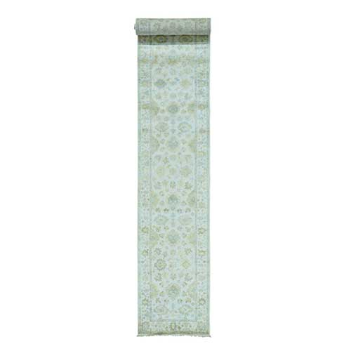 White Wash Oushak XL Runner Hand Knotted Pure Wool
