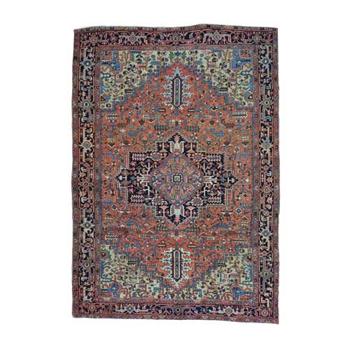 Hand Knotted Antique Persian Heriz Exc Cond Oriental