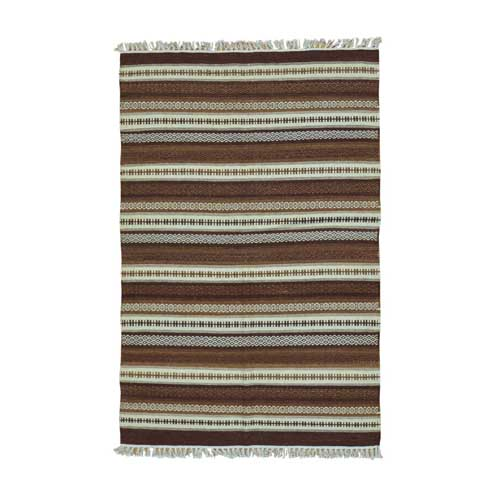 Striped Shades Of Brown Kilim Pure Wool Hand Woven