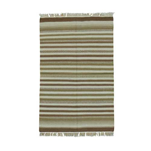 Hand Woven Striped Durie Kilim Pure Wool Flat Weave Oriental