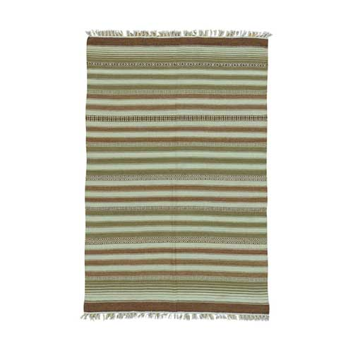 Reversible Flat Weave Pure Wool Striped Durie Kilim Oriental