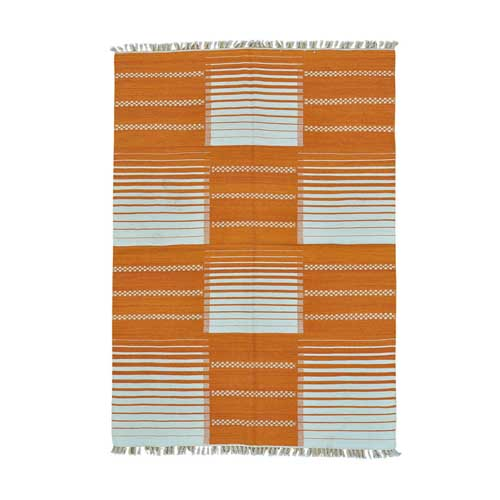 Orange Reversible Durie Kilim Flat Weave Hand Woven