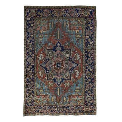 Hand-Knotted Antique Persian Heriz Good Cond Oriental