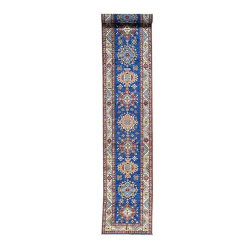 Hand-Knotted Super Kazak Blue Tribal Design XL Runner