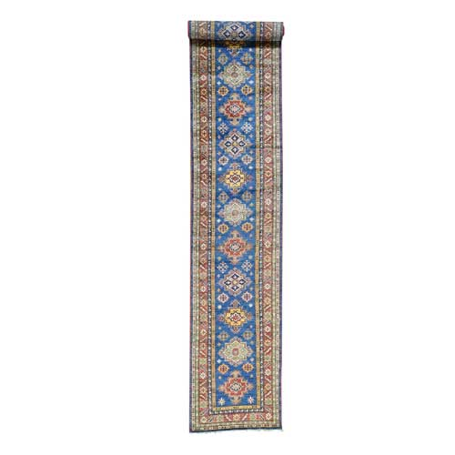 Hand-Knotted Super Kazak Tribal Design XL Runner Oriental