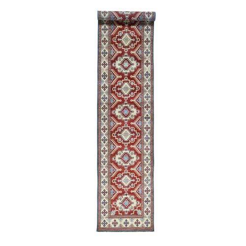 Hand-Knotted Red Kazak XL Runner Tribal Design