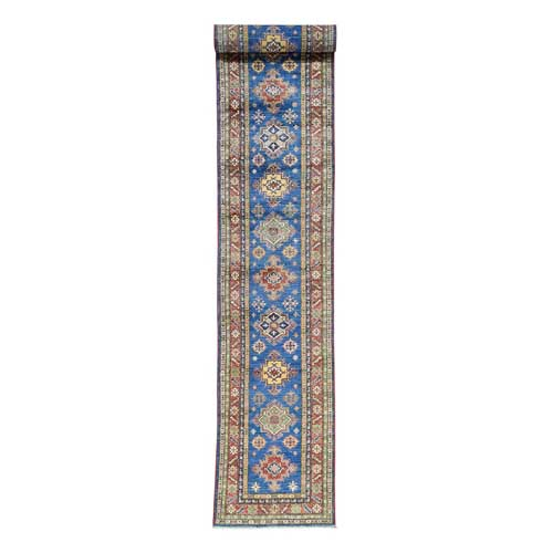 Hand-Knotted Pure Wool XL Runner Super Kazak Oriental