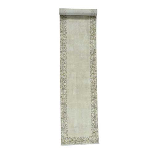 Hand-Knotted XL Runner Signed Tabriz Semi-Antique Oriental
