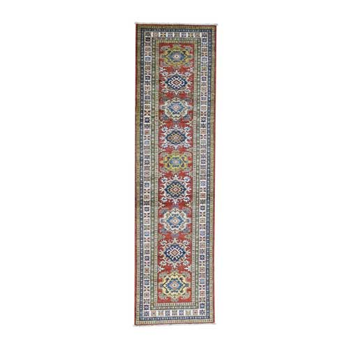 Hand-Knotted Runner Super Kazak Tribal Design Pure Wool