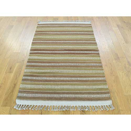 Flat Weave Pure Wool Hand-Woven Reversible Striped Kilim