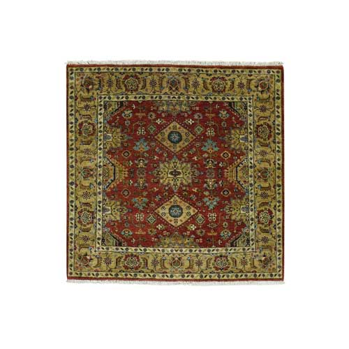 Hand-Knotted Karajeh 100 Percent Wool Oriental Square Carpet