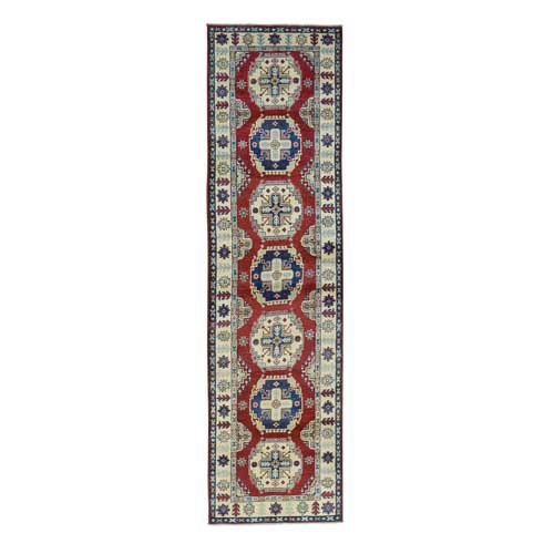 Hand-Knotted Red Kazak Geometric Design Runner Oriental