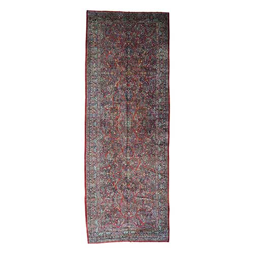 Hand-Knotted Antique Persian Sarouk Gallery Size Exc Cond