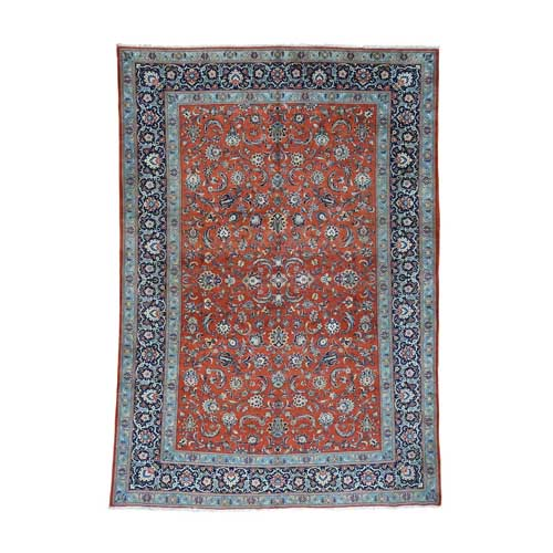 Hand-Knotted Antique Persian Kashan Full Pile Oriental
