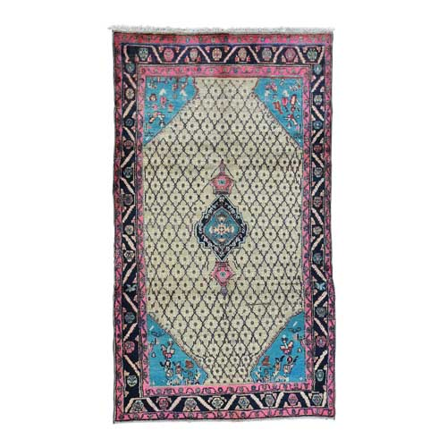 Closeout Sale Hand-Knotted Persian Hamadan Camel Hair With Pink