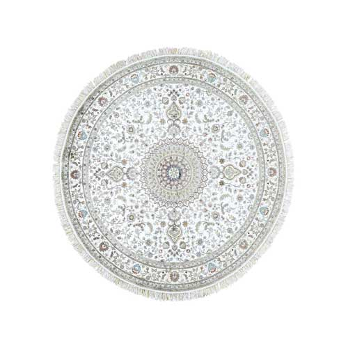 On Clearance Ivory Silken Kashan Round Hand-Knotted 250 Kpsi Oriental