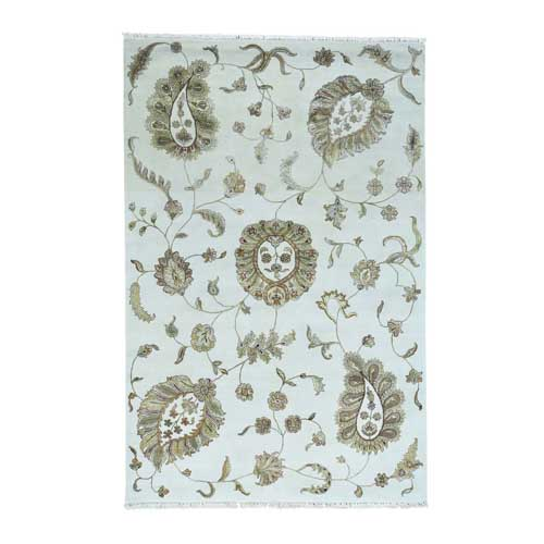 On Clearance Modern Transitional No Border Wool And Silk Hand-Knotted