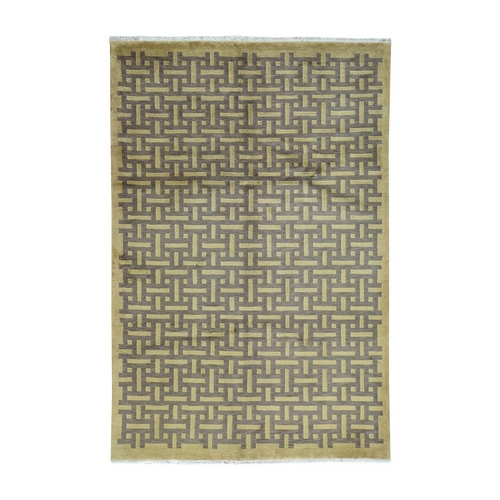 On Clearance Modern Nepali Abstract Design Beige Hand-Knotted Oriental