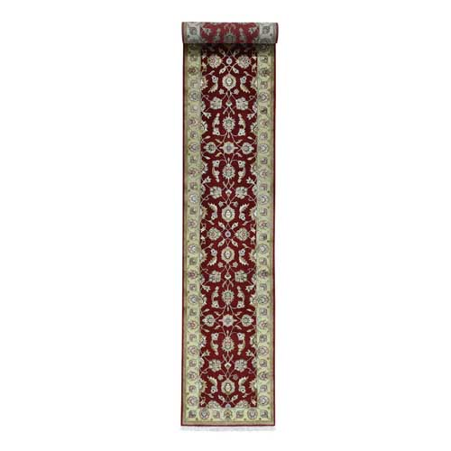 Half Wool And Half Silk Red Rajasthan XL Runner Handmade