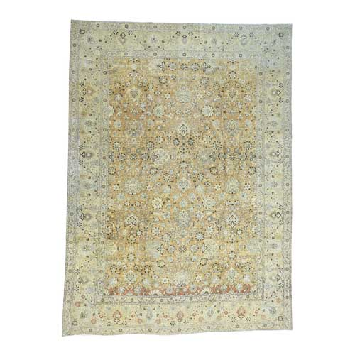 Hand-Knotted Antique Persian Tabriz With Abrash Oriental
