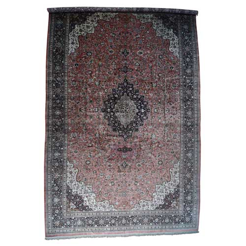 Hand-Knotted Mansion Size Silk Qum Oriental