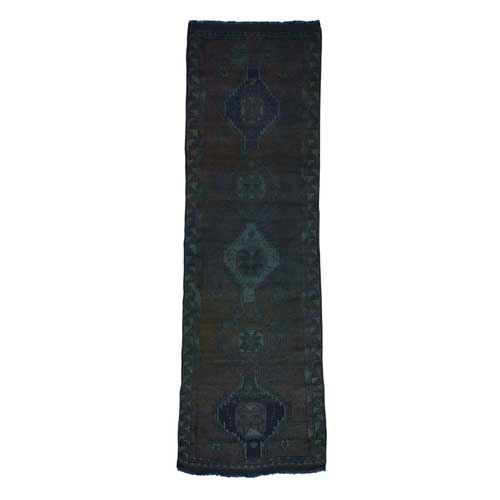 Hand-Knotted Overdyed Persian Shiraz Worn Runner
