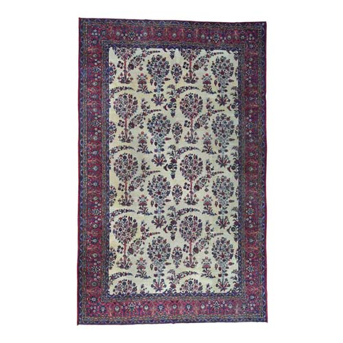 Handmade Gallery Size Antique Persian Kerman Even Wear
