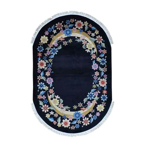 Art Deco Oval Floral Design Chinese Hand-Knotted Oriental