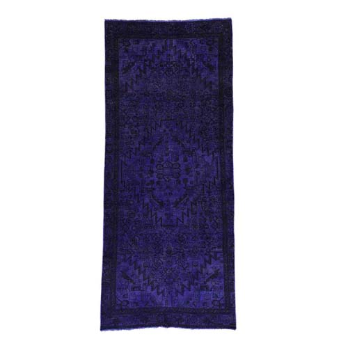Hand-Knotted Purple Overdyed Hamadan Pure Wool Wide Runner