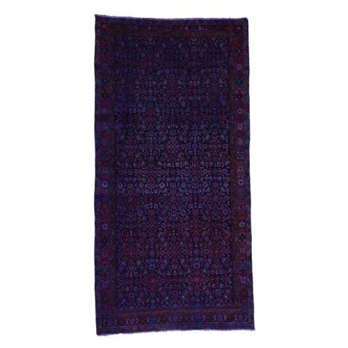 Handmade Purple Overdyed Sarouk Pure Wool Wide Runner