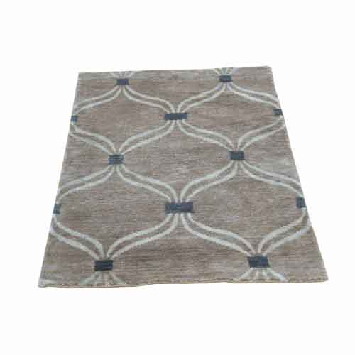 Hand-Knotted Wool And Silk Modern Design Taupe Oriental
