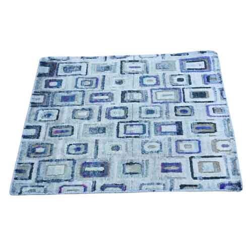 Clearance Hand-Knotted Silk With Textured Wool Square Oriental