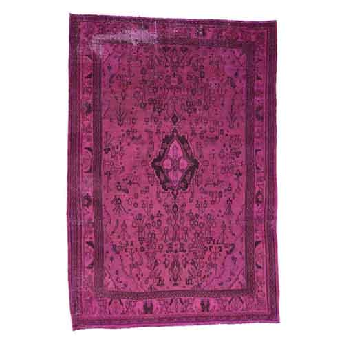 Pink Hand-Knotted Overdyed Bibikabad Pure Wool Oriental