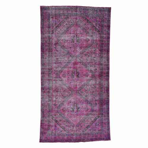 Handmade Overdyed Persian Shiraz Vintage Wide Runner