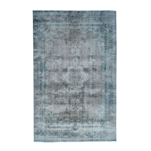 Hand-Knotted Overdyed Persian Kerman Worn Wool Wide Runner Oriental
